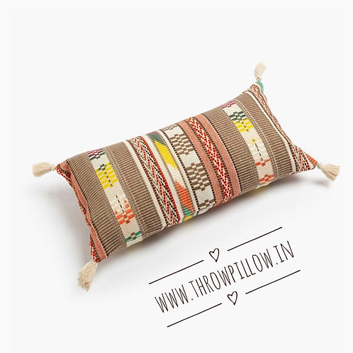 Brown Multicolored Lumbar Pillow