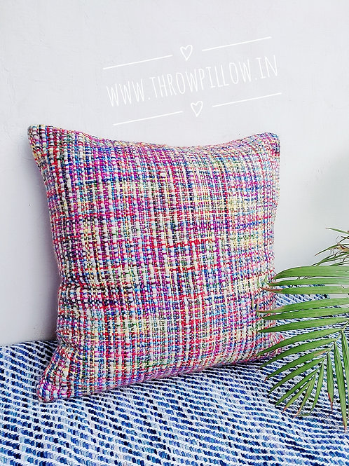 Multicolored knitted Throw pillow