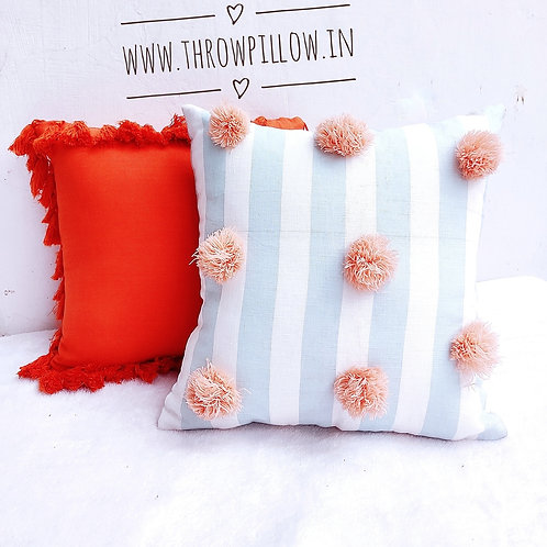 Large Pom Pom Cushion Cover
