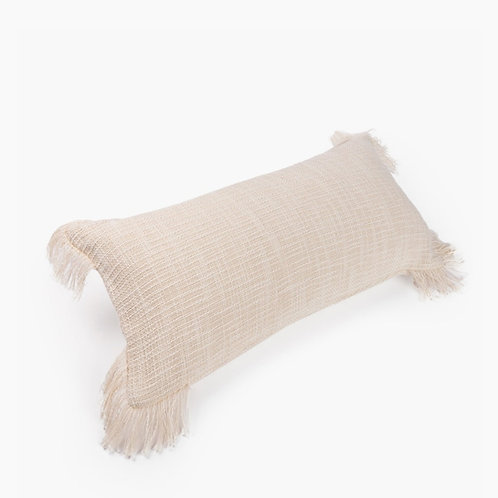 Neutral Textured Rectangular  Cushion Cover with fringes