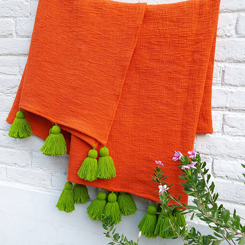 Orange Textured L-shaped Throw/Couch cover