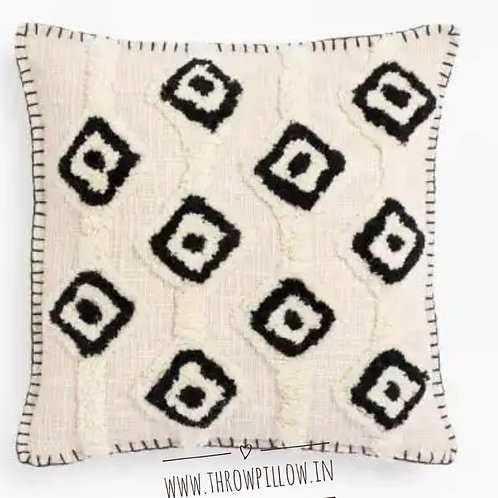 Black & White Tufted Cushion Cover