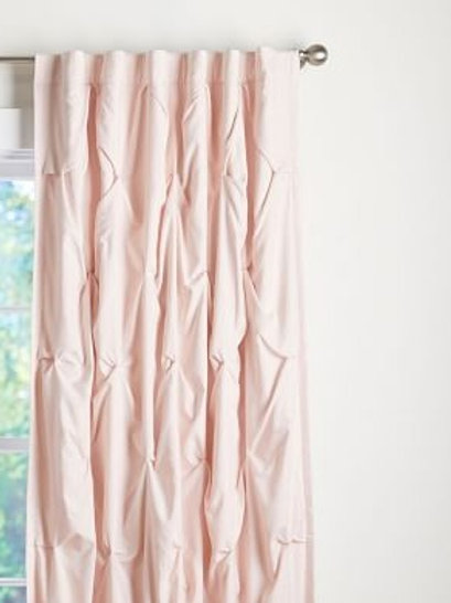 Blossom Peach Cotton Pintuck Curtains