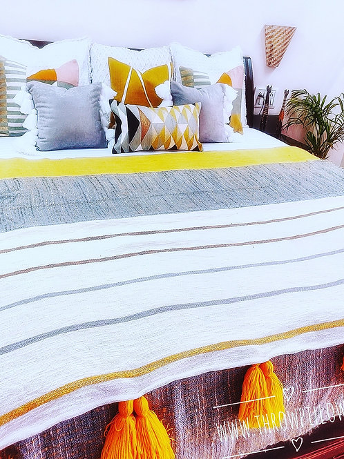 Bright Yellow stripes and Tassels throw
