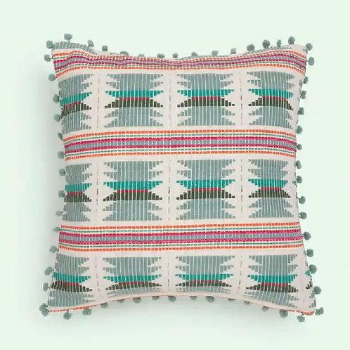 Sage Green Threadwork Cushion with pom poms