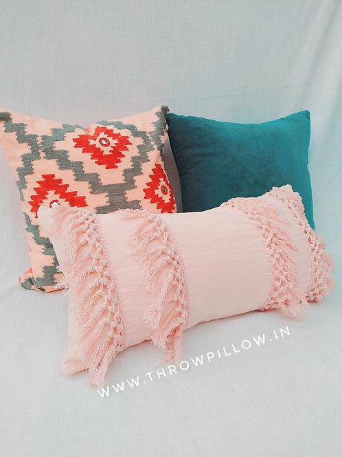 Blush Boho Fringe Tasssel Cushion Cover