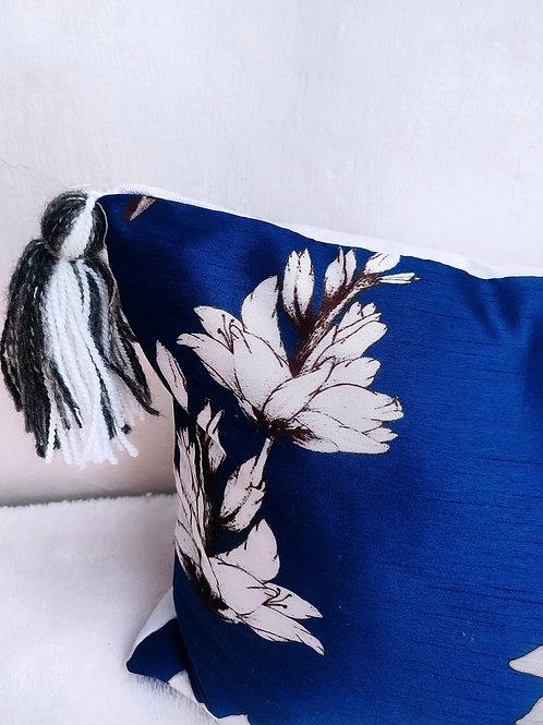 Royal Blue Floral Lumbar