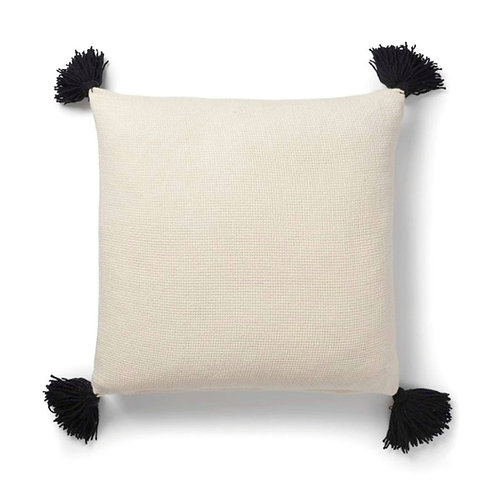 Neutral Solid Cushion with black tassels