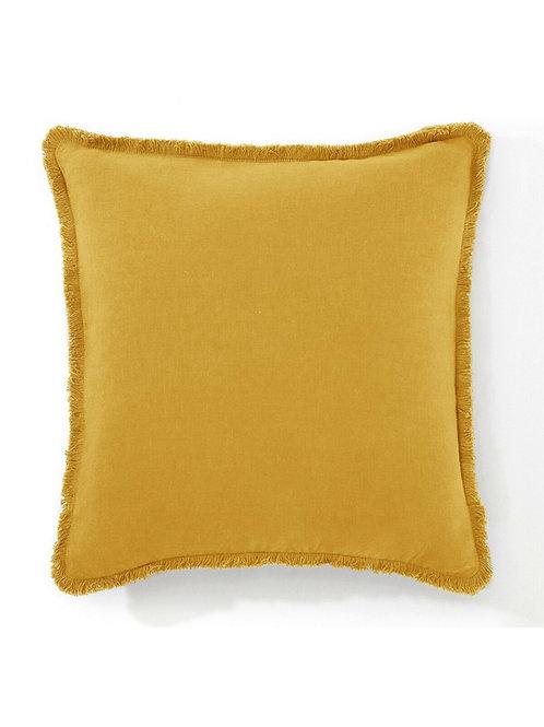 Mustard French Fringe Cushion Cover