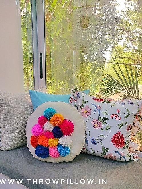 Maza Round Pom Pom Cushion
