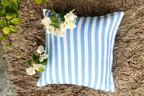 Blue white strips linen Cushion Cover
