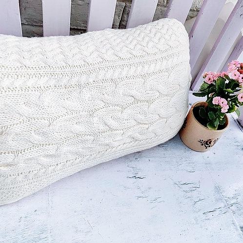 Off White Winter Close Knit Rectangular Cushion