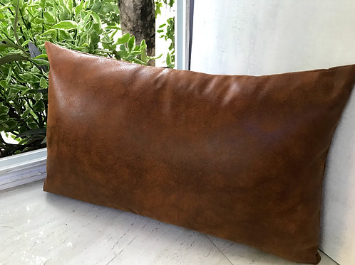Hazelnut Brown Faux Leather Rectangular Cushion