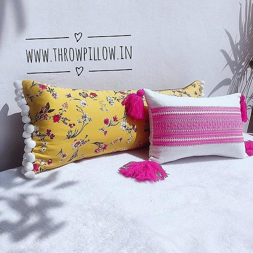 Yellow Floral Lumbar Pillow-12x18 inches