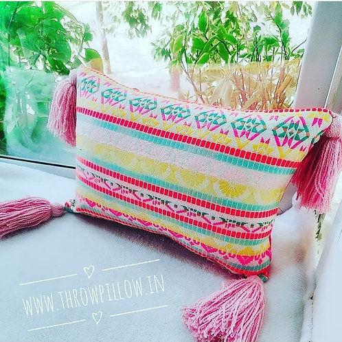 Multicolored Tribal Rectangular Cushion