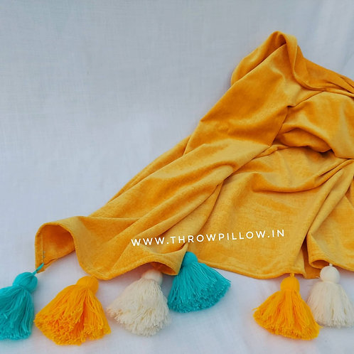 Sunshine Couch Cover with Aqua Blue Tassels