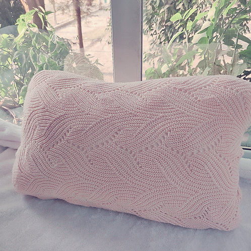 Blush Rectangular Cushion Cover Woolen Pillow