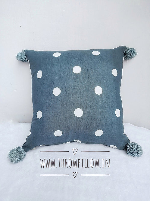 Grey Polka Dot Cushion with tassels