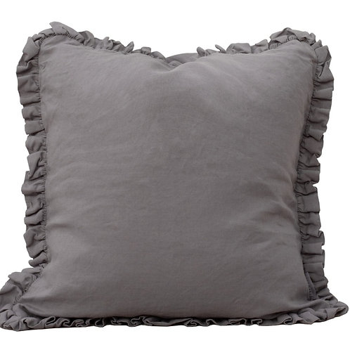 Grey Ruffled Cushion Cover