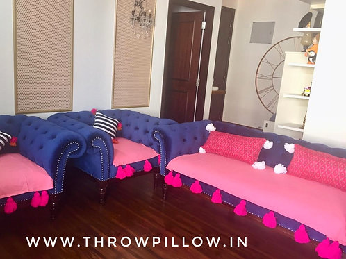 Blush Throw/ Couch Cover with Fuchsia tassels