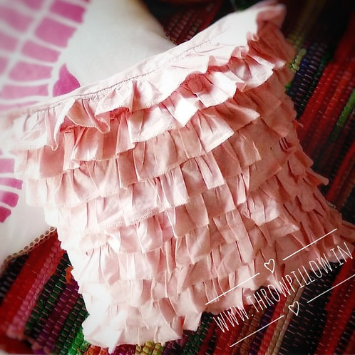 Pink Ruffled Cushion Cover