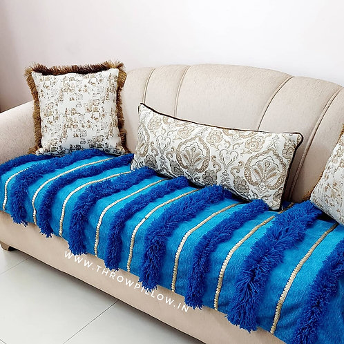 Moroccan Wedding Blanket L shaped Throw- Teal Blue
