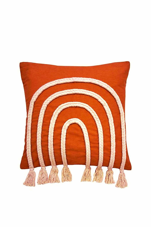 Burnt Orange Braided Arch Cushion Cover