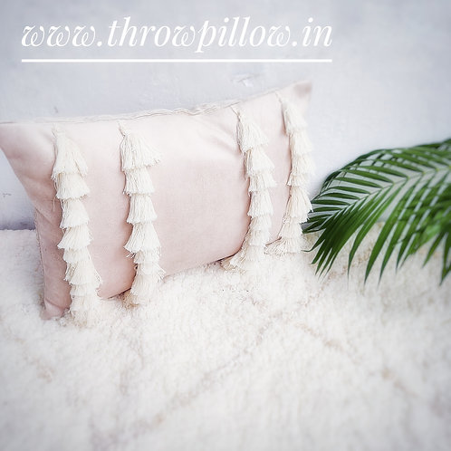 Neutral Tassels Queen Rectangular Cushion
