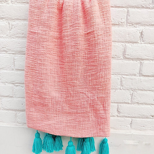 Blush- Textured Cotton Throw/Couch Cover