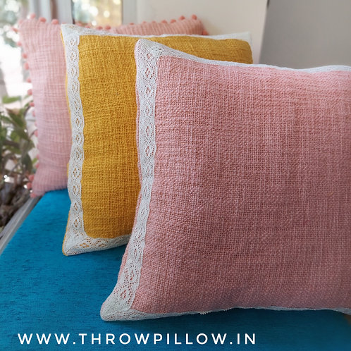 Blush Pink Textured with Cotton Trim Cushion Cover