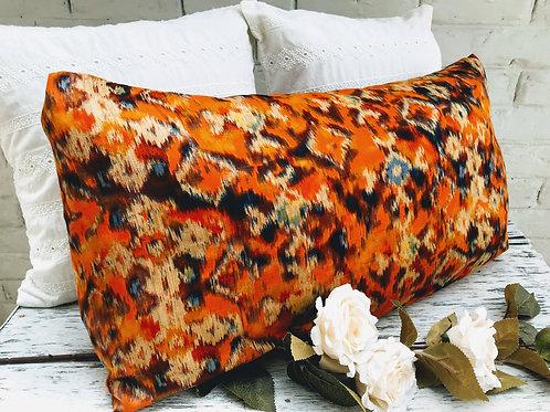 Tribal Orange Print Rectangular Cushion
