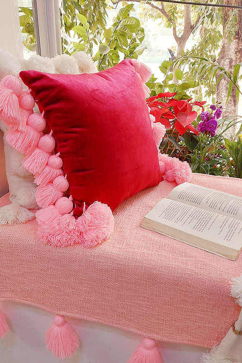 Crimson Luxe Cushion Cover with fine tassels