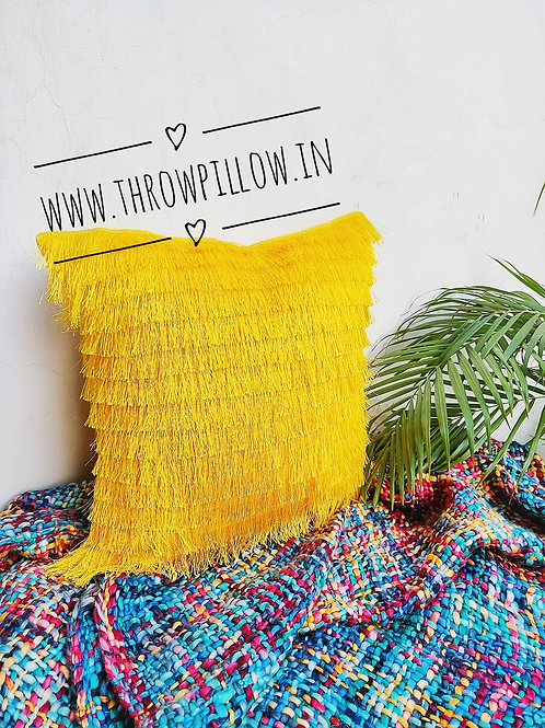 Golden Yellow Fringe Layers Cushion Cover