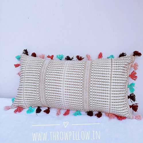 Multicolored Tassle Rectangular Cushion
