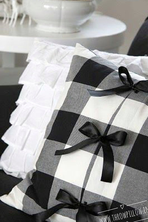 Gingham check Ribbon Embellished Cushion Cover