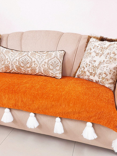Burnt Orange Tassel Throw/ Couch Cover