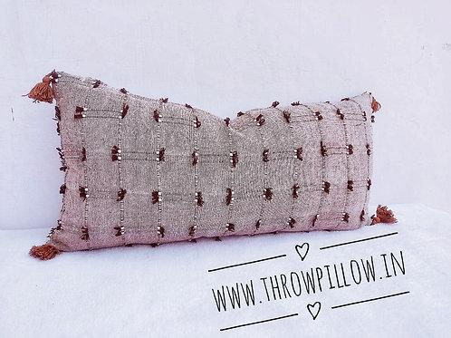 Brown Threadwork Rectangular Cushion Cover