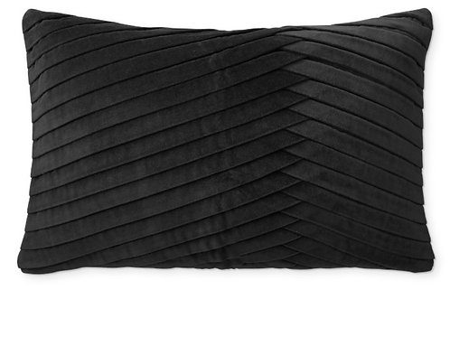 Luxe Black Pleated Cushion Cover