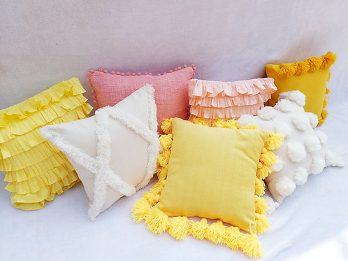 Yellow All Round Tassel Cushion Cover