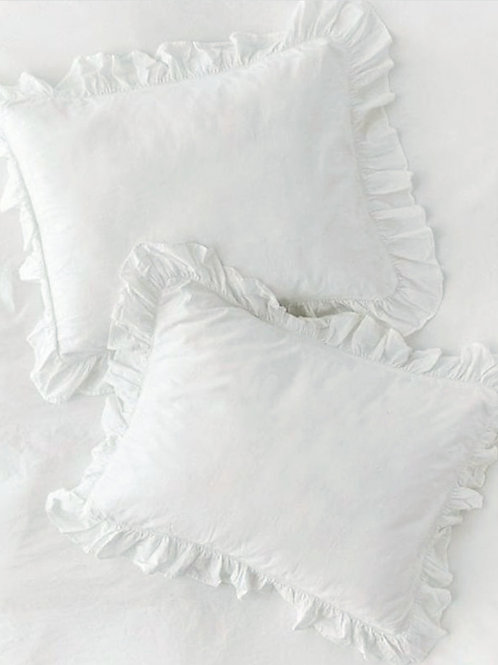 White Frill Cushion Cover
