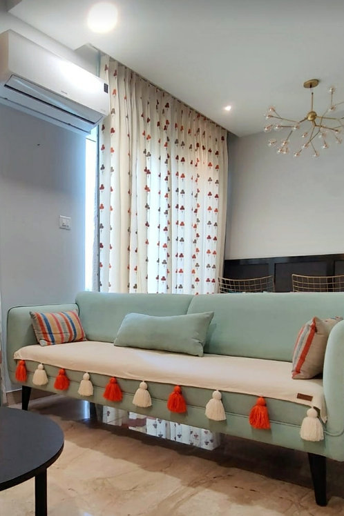 Neutral Tassel Couch Cover with Orange & Off White Tassels
