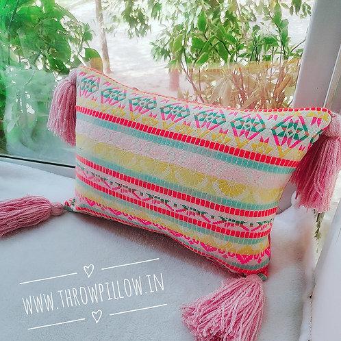 Multi coloured Embroidered Rectangular Cushion