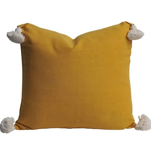 Mustard solid Cushion Cover with white tassels