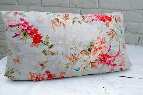 Grey Floral Lumbar Cushion Cover