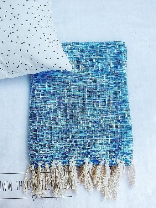 Blue Textured Basket weave Throw