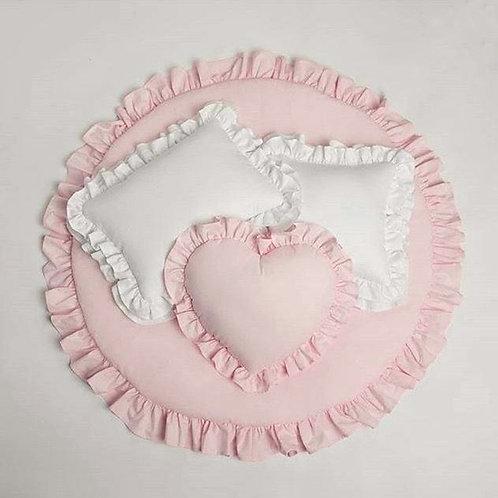 Pink Frill Baby Mat & Pillows Comb