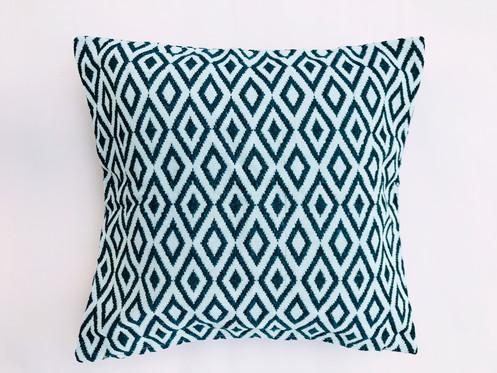 Navy Blue White Geometric Throw Pillow