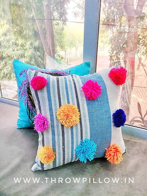 Big Pom Pom Multicolored Boho Cushion