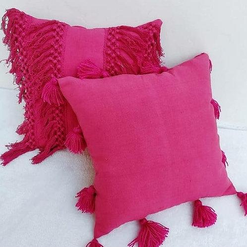 Fuschia All Round Tassel Cushion Cover