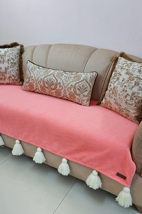 Carrot Pink Textured Cotton Throw for L-Shaped Couch